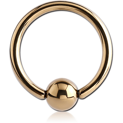ZIRCON GOLD PVD COATED SURGICAL STEEL BALL CLOSURE RING