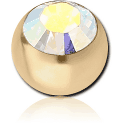 ZIRCON GOLD PVD COATED SURGICAL STEEL SWAROVSKI CRYSTAL JEWELLED BALL