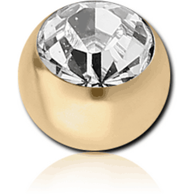 ZIRCON GOLD SURGICAL STEEL JEWELED BALL