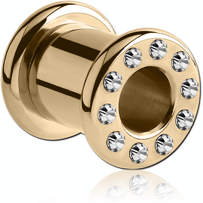 ZIRCON GOLD PVD COATED STAINLESS STEEL JEWELLED ROUND-EDGE TUNNEL WITH RESIN