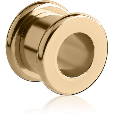 ZIRCON GOLD PVD COATED STAINLESS STEEL ROUND-EDGE THREADED TUNNEL