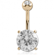 14K GOLD ROUND PRONG SET 9MM CZ NAVEL BANANA WITH JEWELLED TOP BALL
