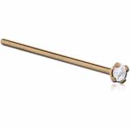 24K GOLD 2.5MM PRONG SET JEWELLED STRAIGHT NOSE STUD