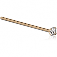 24K GOLD 1.5MM PRONG SET JEWELLED STRAIGHT NOSE STUD