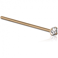 24K GOLD 3 MM PRONG SET JEWELLED STRAIGHT NOSE STUD