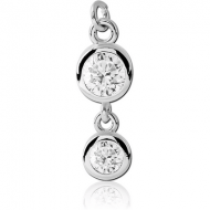 RHODIUM PLATED BRASS DOUBLE JEWELLED CHARM
