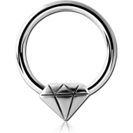 SURGICAL STEEL BALL CLOSURE RING WITH ATTACHMENT - DIAMOND