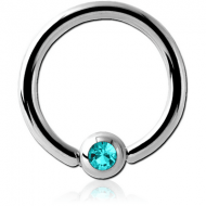 SURGICAL STEEL SWAROVSKI CRYSTAL JEWELLED BALL CLOSURE RING PIERCING