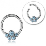 SURGICAL STEEL ROUND JEWELLED HINGED SEPTUM RING PIERCING
