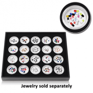IMITATION LEATHER TRAY WITH 20 PLASTIC BOXES FOR LOOSE BALL PIERCING