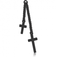 BLACK PVD COATED SURGICAL STEEL TWO CROSSES CHARM