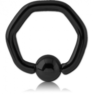 BLACK PVD COATED SURGICAL STEEL HEXAGON BALL CLOSURE RING PIERCING