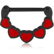 BLACK PVD COATED SURGICAL STEEL NIPPLE CLICKER - HEARTS