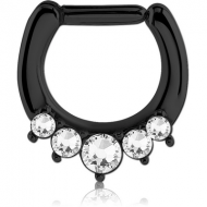 BLACK PVD COATED SURGICAL STEEL ROUND SWAROVSKI CRYSTALS JEWELLED HINGED SEPTUM CLICKER PIERCING