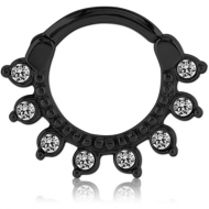 BLACKLINE SURGICAL STEEL ROUND JEWELED HINGED SEPTUM CLICKER RING PIERCING