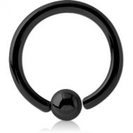 BLACK PVD COATED SURGICAL STEEL FIXED BEAD RING