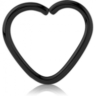 BLACK PVD COATED SURGICAL STEEL OPEN HEART SEAMLESS RING PIERCING
