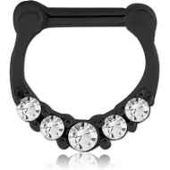 BLACK PVD COATED SURGICAL STEEL ROUND JEWELLED HINGED SEPTUM CLICKER PIERCING