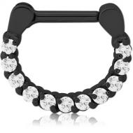BLACK PVD COATED SURGICAL STEEL ROUND PRONG SET JEWELLED HINGED SEPTUM PIERCING