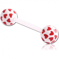 UV ACRYLIC FLEXIBLE BARBELL WITH PRINTED HEARTS BALL