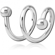 SURGICAL STEEL 2TURN SPIRAL BARBELL PIERCING