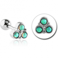 SURGICAL STEEL SYNTHETIC OPAL TRINITY TRAGUS BARBELL