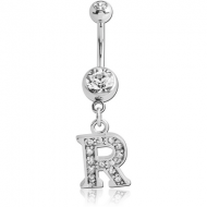 SURGICAL STEEL DOUBLE JEWELLED NAVEL BANANA WITH JEWELLED LETTER CHARM - R