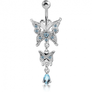 RHODIUM PLATED BRASS JEWELLED NAVEL BANANA WITH DANGLING CHARM - BUTTERFLY