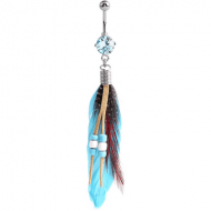 RHODIUM PLATED BRASS JEWELLED NAVEL BANANA WITH DANGLING CHARM - FEATHER