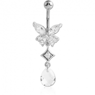 RHODIUM PLATED BRASS JEWELLED BUTTERFLY NAVEL BANANA WITH DANGLING CHARM - DROP PIERCING