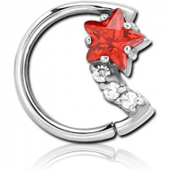 SURGICAL STEEL JEWELLED OPEN SEAMLESS RING - LEFT - MOON AND STAR