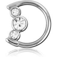 SURGICAL STEEL JEWELLED OPEN MOON SEAMLESS RING PIERCING