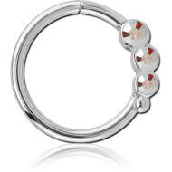SURGICAL STEEL JEWELLED SEAMLESS RING - LEFT - TRIPLE GEM PIERCING
