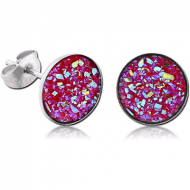 SURGICAL STEEL SYNTHETIC DRUZY CRYSTALS CUP EAR STUDS PAIR