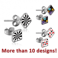 PAIR OF SURGICAL STEEL SQUARE CUP PICTURE EAR STUDS