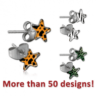 SURGICAL STEEL STAR CUP PICTURE EAR STUDS PAIR