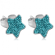 SURGICAL STEEL MULTICOLOUR BALLS STAR OF CUP EAR STUDS PAIR