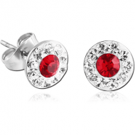 PAIR OF SURGICAL STEEL CRYSTALINE DOT JEWELLED EAR STUDS
