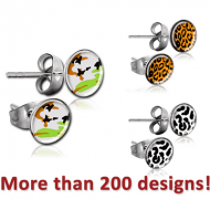 SURGICAL STEEL CUP PICTURE EAR STUDS PAIR