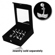DISPLAY-VELVET MIRRORED BOX WITH 8 CLIPS PIERCING