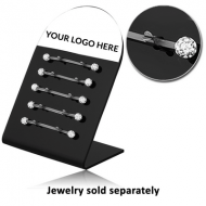 ACRYLIC DISPLAY WITH 10 STEEL CLIPS FOR 5 INDUSTRIAL BARBELLS PIERCING