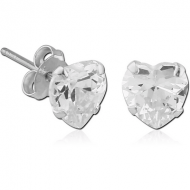 STERLING SILVER 925 JEWELLED PRONG SET HEART EAR STUDS PAIR
