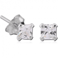 STERLING SILVER 925 JEWELLED PRONG SET SQUARE EAR STUDS PAIR