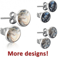 STERLING SILVER 925 SYNTHETIC MOTHER OF PEARL EAR STUDS PAIR