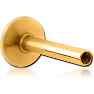 GOLD PVD COATED SURGICAL STEEL INTERNALLY THREADED MICRO LABRET PIN FOR 0.8 MM THREAD PIERCING