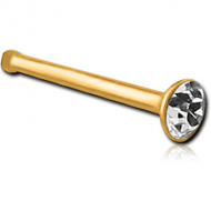 GOLD PVD COATED SURGICAL STEEL SWAROVSKI CRYSTAL JEWELLED NOSE BONE WITH STONE BONDING