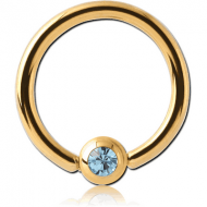 GOLD PVD COATED SURGICAL STEEL SWAROVSKI CRYSTAL JEWELLED BALL CLOSURE RING PIERCING