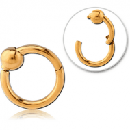 GOLD PVD COATED SURGICAL STEEL HINGED SEGMENT RING WITH BALL PIERCING