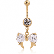GOLD PVD COATED SURGICAL STEEL JEWELLED NAVEL BANANA WITH DANGLING CHARM - BOW WITH FANGS