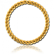 GOLD PVD COATED SURGICAL STEEL SEAMLESS RING - TWIST PIERCING